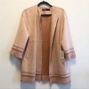 Faux suede dusty rose jacket with fringe NWT